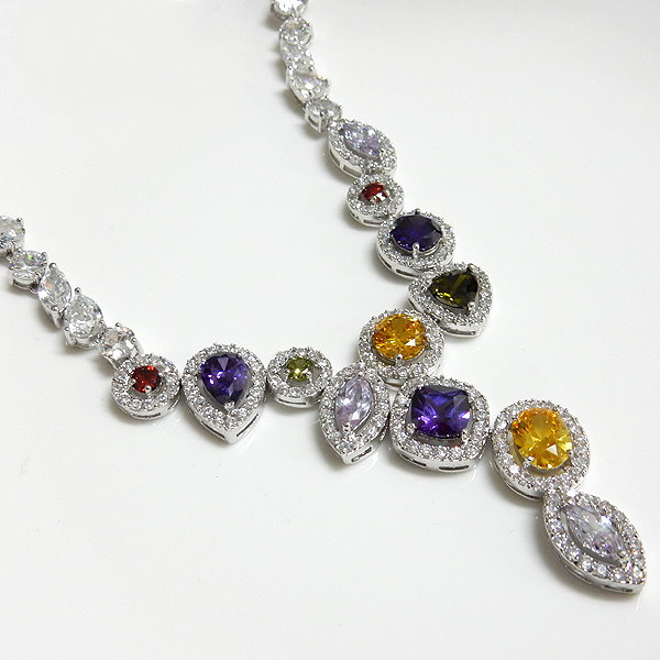 Multicolor CZ Bridal Necklace