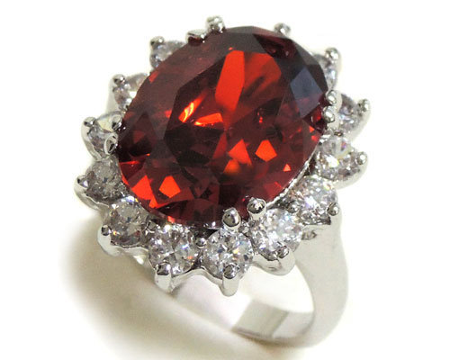 Garnet and Clear CZ Ring