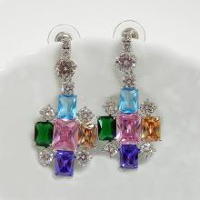 Multicolor CZ Hanging Bridal Earrings
