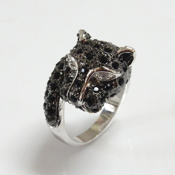Leopard Two Tone CZ and Crystal Ring