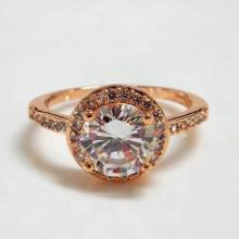 Rose Gold Round Diamond Halo Engagement Ring