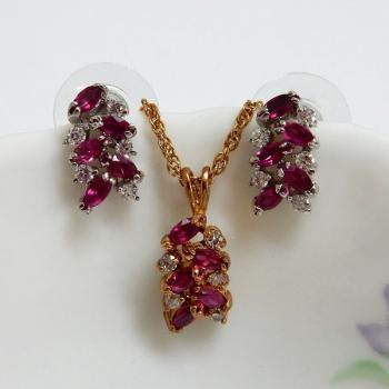 Marquise Ruby Fashion Jewellery Set
