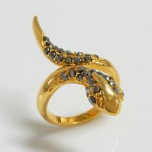 Snake Goldtone Hematite Crystal Ring