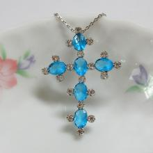 Oval Aqua Color Cross Pendant