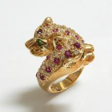 Leopard Goldtone CZ Men Ring