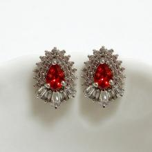 Pear CZ Stud Earrings