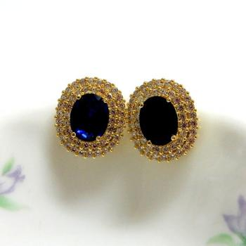 Gold Oval Blue Earrings