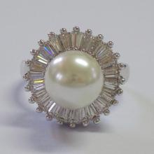 Pearl and Clear CZ Ring