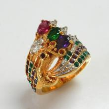 Peacock Multi Color Swarovski Crystal Ring