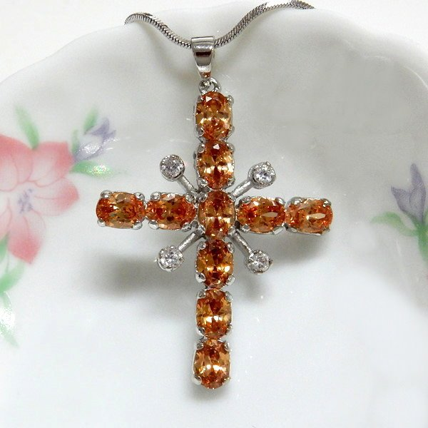 Champagne Oval CZ Cross Pendant